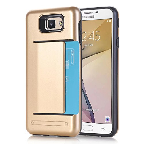 [Galaxy On7 Case,Galaxy J7 Prime Case,ARSUE Dual Layer Protective Shell Shockproof Card Slot Holder Rubber Bumper Hybrid Case Cover for Samsung Galaxy On7 2016/J7 Prime/G610 - Gold] (Peacock Gold Feather Pad)