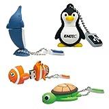 Emtec Animal USB 4GB Flash Drive Set: Dolphin/ Sea Turtle/ Clownfish/ Penguin