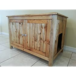 Odor Free Double Cat Litter Box Cabinet. Ideal for multiple cats. Holds two cat trays. Divided. Made in USA. Wood not MDF. NO assembly needed. Golden Oak.