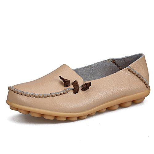 Zapatos de mujer de cuero genuino Mujer Pisos ocasionales Mocasines de la madre Calzado de conducción de mujeres Zapato de barco sólido Beige 3.5