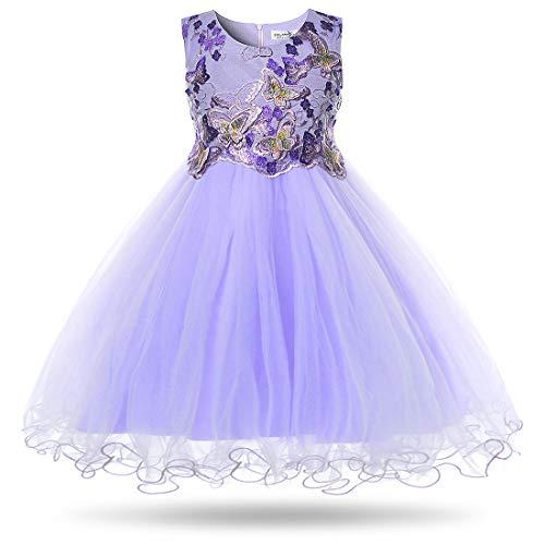 CIELARKO Girls Dress Flower Kids Butterfly Wedding Party Dresses,2-3 Years (Three Purple Flowers)