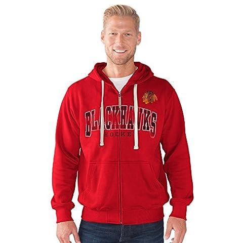 G-III Sports NHL Men's Full Zip Hoodie (Xlarge, Chicago Blackhawks, Red) - Full Zip Hockey Hoody