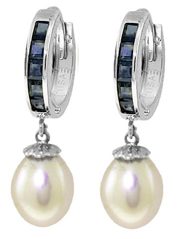 Pearl Sapphire Earrings (14k White Gold Sapphire Earrings with Pearls)