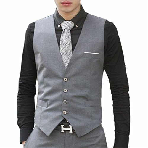 [Verescha Mens Fashion Separate Slim Fit Button Closure Waistcoats GraySmall] (Morph Suite)