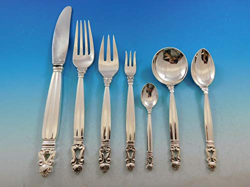 Acorn by Georg Jensen Sterling Silver Dinner Flatware Set 12 Service 89 Pieces