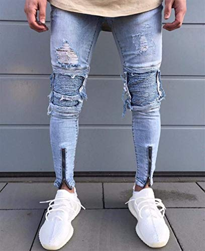 Slim Pantaloni Distrutti Strappati Blau Streetwear Hiphop Vintage Jeans Fit Maschili Uomo nYpWgqYU