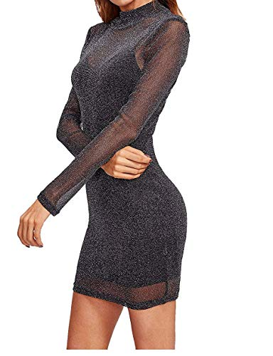 Women's Sexy Party Club Glitter Mesh Overlay 2 in 1 Mini Dress (Small, -