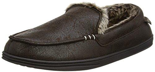 Isotoner Herren Distressed Moccasin Slippers Flache Hausschuhe Braun (Brown)