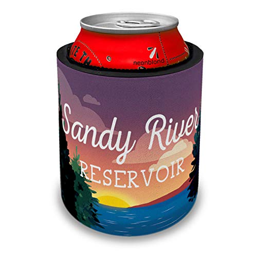 NEONBLOND Lake retro design Sandy River Reservoir Slap Can Cooler Insulator Sleeve (Sandy Reservoir River)