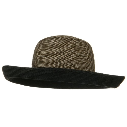 (UPF 50+ Tweed Braid Large Kettle Brim Hat - Black)