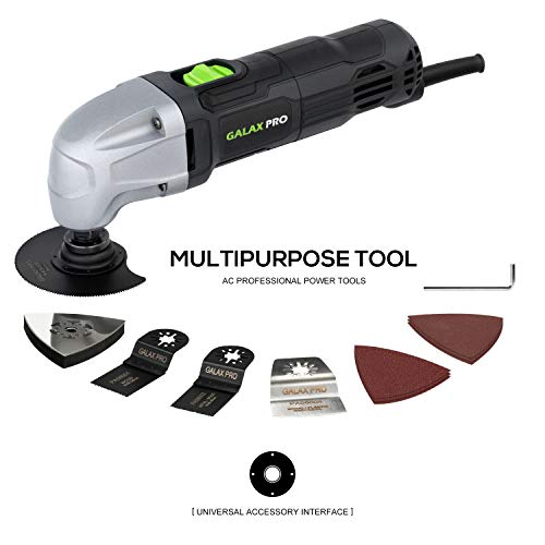 - Oscillating Tool, 1.5A Oscillating Multi Tool Oscillating Angle:3° GALAX PRO 22000 OPM Multi-Tool with 3x Saw Blades, 1pcs Semi Circle Blade Sanding Plate, 6pcs Sanding Papers for Sanding, Grinding