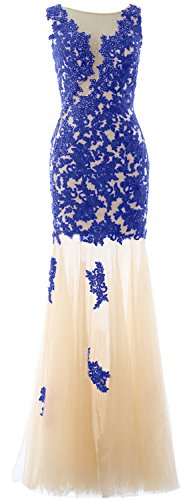 MACloth Lace Mermaid Wedding Royal Formal Long Evening Gown Blue Party Women Prom Dress HHqwg6