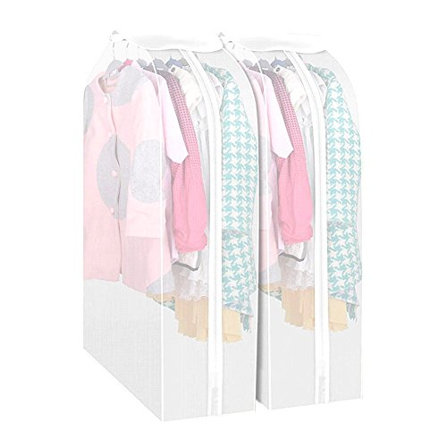 Set of 2 Garment Clothes Cover Protector Translucent Dustproof Waterproof Hanging Clothing Storage Bag with Full Zipper & Magic Tape & Strap for Coat Dress Windcoat by Yangshine