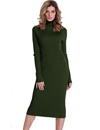 472dad398e75a PrettyGuide Women Slim Fit Ribbed Turtleneck Long Sleeve Midi Knit Sweater  Dress Green L