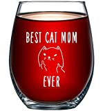 Best Cat Mom Ever Funny Wine Glass 15oz - Unique...