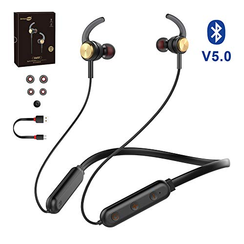 Baseman Bluetooth V5.0 Headphones Wireless Neckband Hi-fi Stereo Earphones with Mic in-Ear Magnetic Earplugs IPX4 Sweatproof Sports Earbuds CVC6.0 Noise Cancellation Mic Headsets for Phone and Tablet