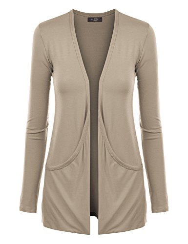 (WSK848 Womens Draped Pocket Cardigan XL Taupe )