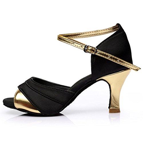 Standard Schuhe Golden Hoher Tanzen 7cm Absatz 5cm Sandalen Latein Tanzschuhe Damen YIBLBOX qUtxnXwap