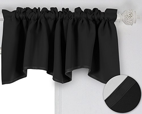 Deconovo Solid Color Rod Pocket Blackout Curtains Short Curtains Scalloped Valance for Bedroom 42 X 18 Inch Black 1 Drape