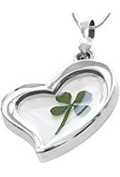 Real 4-leaf Clover Dried Shamrock Pendant Lucky Charm Glass Heart Irish Sterling Plated Necklace
