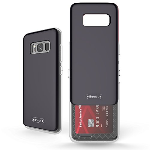 Galaxy S8 Case, Molan Cano [Boost] Sliding Card Holder Wallet Case Dual Layer PU Cover with 2 Card Slots for Samsung Galaxy S8 - Black