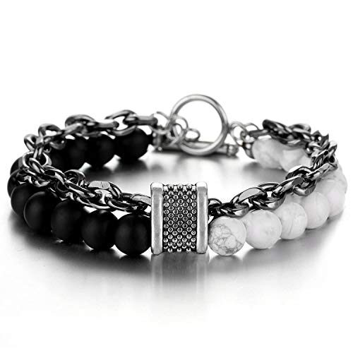 Meangel Natural Stone Beads Bracelet for Men Boys Stainless Steel Rolo Cable Link Chain Double Bracelet