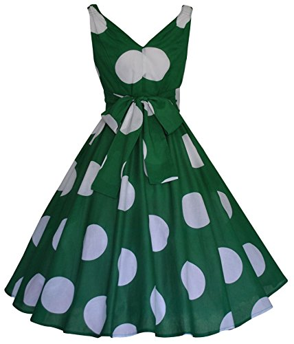 - 1950 's Style rétro Motif Large Polka Dot Vert Coton Robe tulle Swing