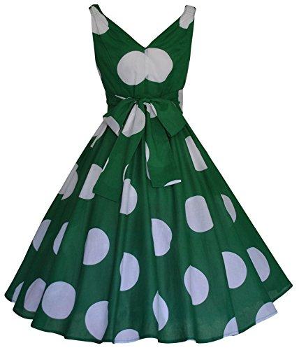 Damen Vintage, 1950 er-Retro-Stil Punktemuster, groß, Grün, Rockabilly-Kleid aus Baumwolle