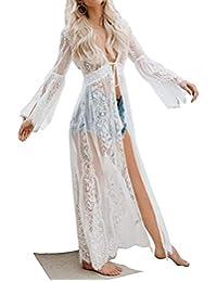 Cárdigan de encaje floral para mujer Vestido largo de playa largo Bikini cubre hasta Crochet (Fixs L, blanco)