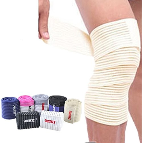 Baselay Weightlifting Knee Bandage Wraps (Pair) - Adjustable Compression Sleeves for Cross Training, Squats, Powerlifting - Improved Gym Workout Strength & Stability - Unisex (Beige) (Best Shin Pads For Defenders)