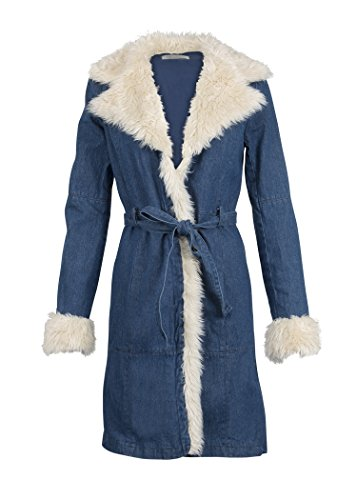 Glam and Gloria Womens Sixties Vintage Inspired Denim Jean Jacket Coat With Faux Fur – Size - Inspired Fashion 60s