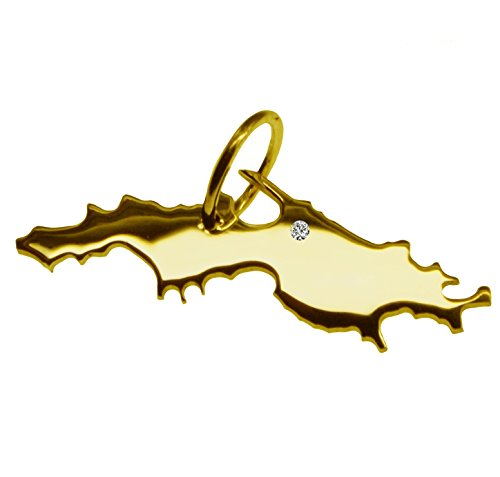 Endroit Exclusif St. Thomas carte Pendentif avec brillant à votre Désir (Position au choix.)-massif Or jaune de 585or, artisanat Allemande-585de bijoux