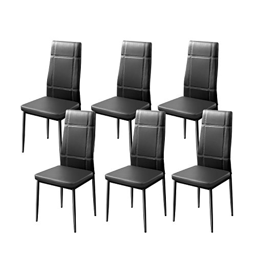 Merax Dining Chairs Set of 6 High Back Design with Heavy Duty Frame PU Leather Cushioned Seat