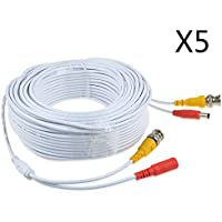 JerGO Professional Grade Siamese Combo Coaxial Cable Pre-made All-in-One BNC Video Power Cable for 1080P /720P, TVI, CVI, AHD and HD-SDI Camera and Analog CCTV Camera ( White 150Ft )(5 Pack)