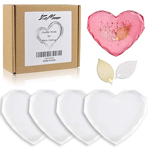 Coaster Molds for Resin Casting - 4 Pack ZeMooon Diamond Edge Epoxy Resin Silicone Molds for Making DIY Craft (Heart-Shaped)