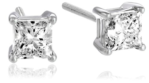 IGI-Certified 18k White Gold Princess Diamond Stud Earrings (1 cttw, H-I Color, SI1-SI2 Clarity)