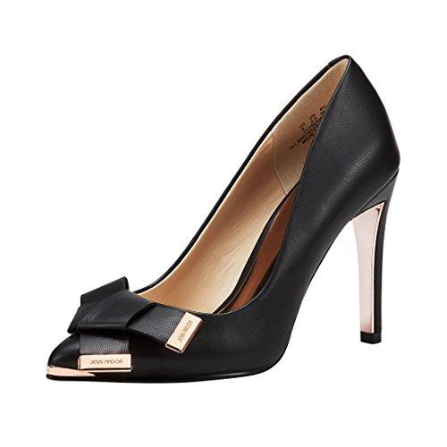 tiletto High Heel Pumps Pointy Toe Leather Bowknot Slip On Bridal Wedding Shoes Black 8 B(M) US (24.69 CM) (Bridal Wedding Pumps)