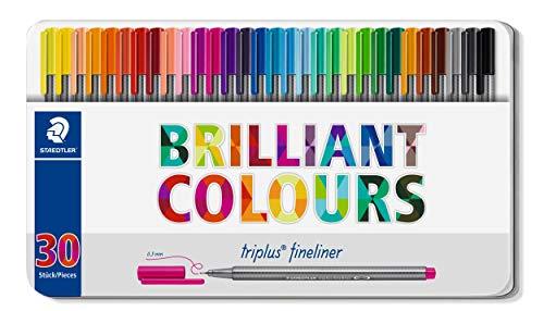 Staedtler Triplus Fineliner Pens - Metal Gift Tin of 30 Brilliant Colours - 0.3mm