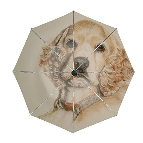Travel Umbrella Compact Automatic Open Close Folding Vintage Cocker Spaniel Umbrellas fit Golf Purse Backpack Wind Resistant for Men and Women