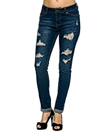 Wax Denim Women's Juniors Distressed Slim Fit Stretchy Skinny Jeans