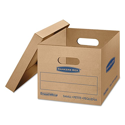 Bankers Box 7714209 SmoothMove Classic Small Moving Boxes, 15l x 12w x 10h, Kraft/Blue, 15/Carton