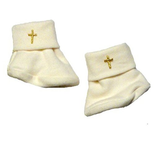 Jacqui's Unisex Baby Ivory Booties with Gold Crosses, 3-6 Months from Jacqui's Preemie Pride