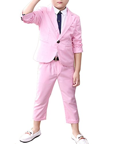 (Boys Blue & Pink Suit Set 2 Pieces Blue & Pink Blazer and Pants Set (5, Pink))