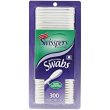Swisspers Cotton Swabs, 100% Cotton Tips, Double-Tipped, White Plastic Sticks, 300 Count