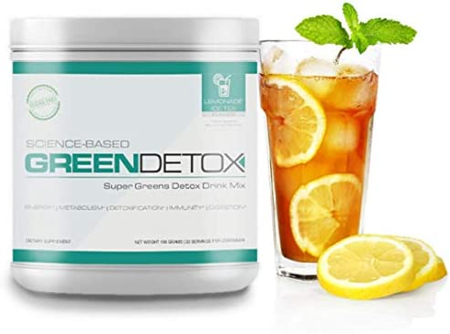 Science Based Green Detox by Six Pack Abs Lemonade Ice Tea Thomas DeLauer Greens Powder with Spirulina Powder Green Superfood with Milk Thistle Green Juice Superfood Powder 30 Servings