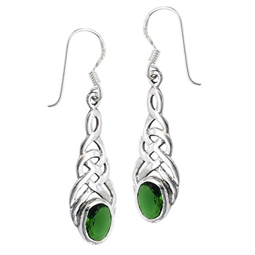 Sterling Silver Celtic Knot Emerald-Green Glass Hook Earrings