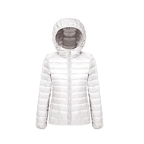 Ake Mujer Packable Hooded Winter Outwear Puffer Down Chaquetas White