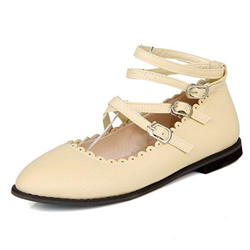 AmoonyFashion Womens Microfiber Buckle No-Heel Solid Pumps-Shoes Beige nBumA1LFV