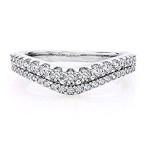tusakha 0.65 CT. TW. Cubic Zirconia Chevron Classic Contour Wedding Ring 925 Sterling Silver 14k White Gold Plated (5.5)