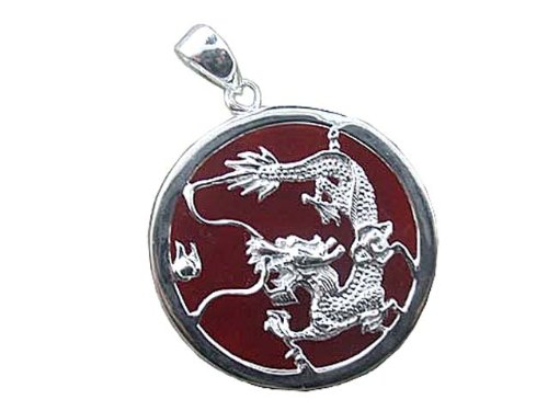 Red Jade Dragon's Fury Pendant with Solid Bezel, 925 Sterling ()